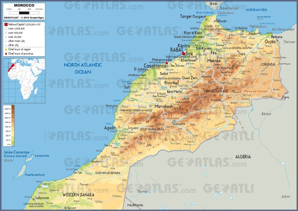 morocco phy Map of Morocco