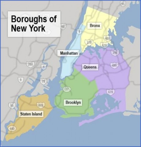 nyc boroughs map Map of New York