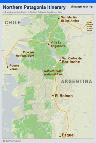 patagonia northernitinerary Map of Patagonia