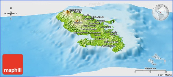physical panoramic map of martinique Map of MARTINIQUE