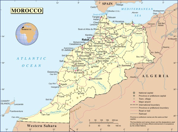 political and administrative map of morocco Map of Morocco
