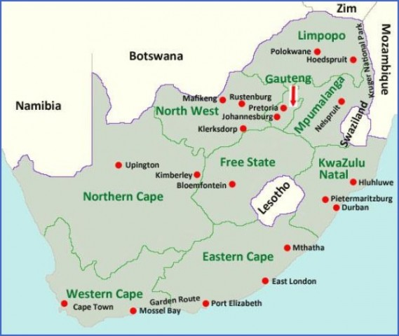 sa province map4 Map of South Africa