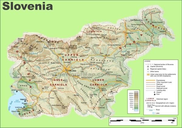 slovenia physical map Map of Slovenia