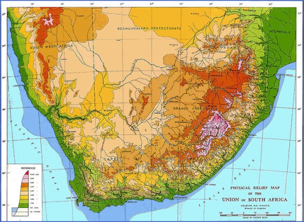 south africa map elevation 1 Map of South Africa