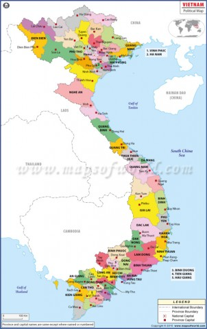vietnam political map 750px 1 Map of Vietnam