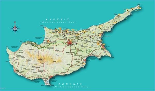cyprus map english  16 Cyprus Map English