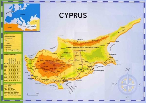 cyprus map english  3 Cyprus Map English