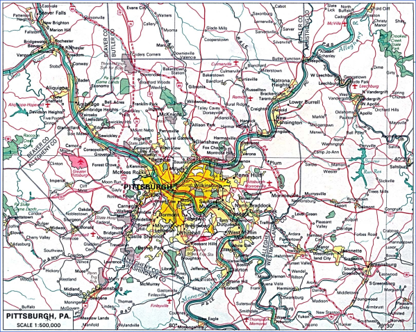 map of pittsburgh 9 Map of Pittsburgh