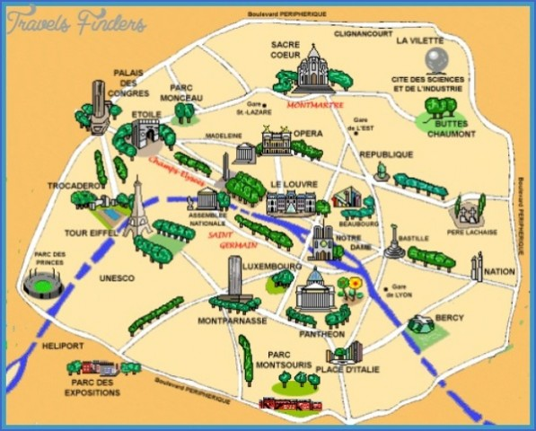 Paris Map Landmarks Paris Landmarks Map   ToursMaps.®