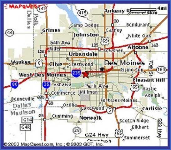 des moines map 1 Des Moines Map