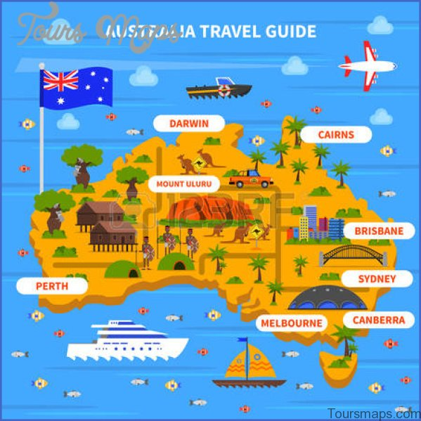 54629323 australia travel guide with map flag ocean and sights flat vector illustration ver6 Perth Map and Travel Guide
