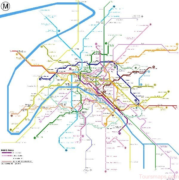 Detailed metro map of Paris - download for print out