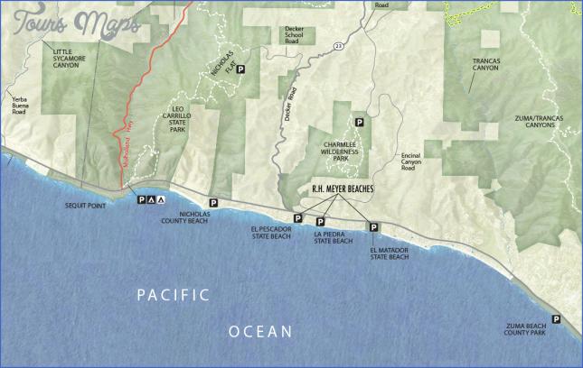 el pescador la piedra el matador state beaches map 6 El Pescador  La Piedra  El Matador State Beaches Map