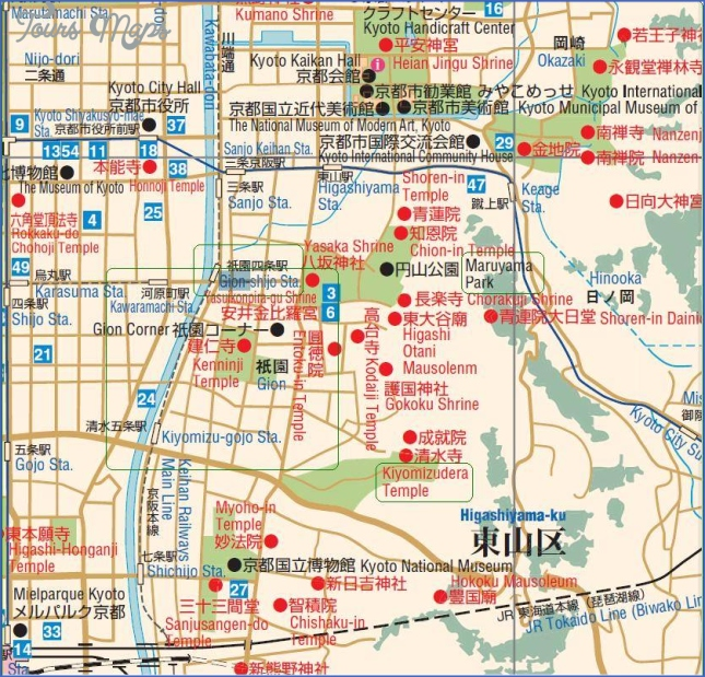 kyoto tourist map kyoto map english  6 Kyoto Tourist Map   Kyoto Map English