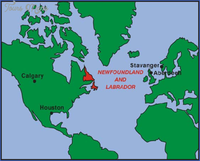 Location map for Newfoundland and Labrador, Canada
