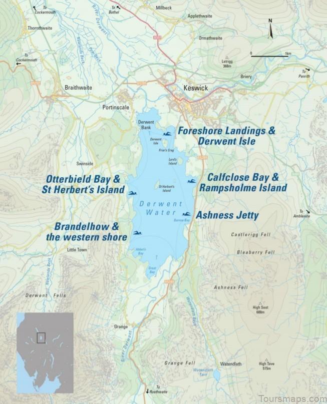 derwent water map swimming guide 2 Derwent Water Map Swimming Guide