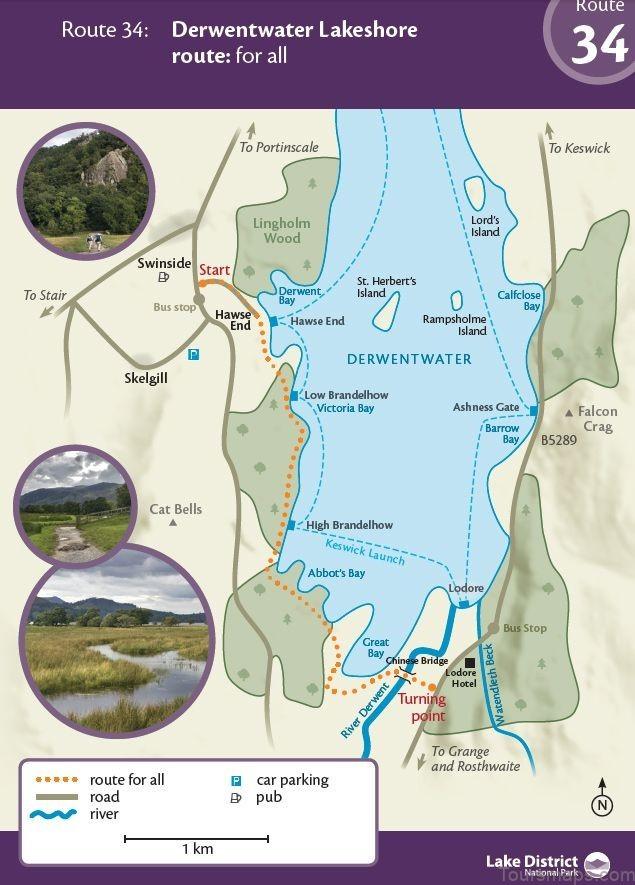 derwent water map swimming guide1 Derwent Water Map Swimming Guide