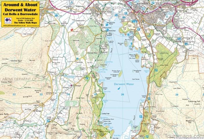derwent water map swimming guide2 Derwent Water Map Swimming Guide