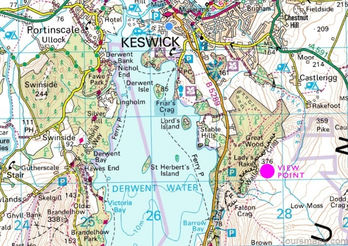 derwent water map swimming guide3 Derwent Water Map Swimming Guide