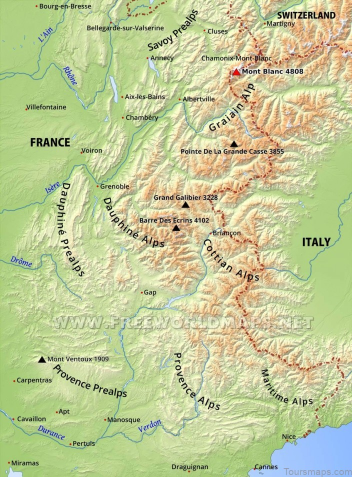 french alps map travel map for the french alps2 French Alps Map | Travel Map for the French Alps