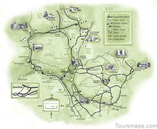 map of abergavenny abergavenny guide1 Map of Abergavenny   Abergavenny Guide   Llanover House